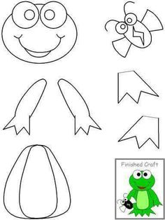 Crafts,Actvities and Worksheets for Preschool,Toddler and Kindergarten.Lots of worksheets and coloring pages. Frog Crafts, Paper Crafts For Kids, Easy Crafts, Arts And Crafts, Frog Theme, Paper Animals, Felt Patterns, Cut And Paste, Animal Crafts