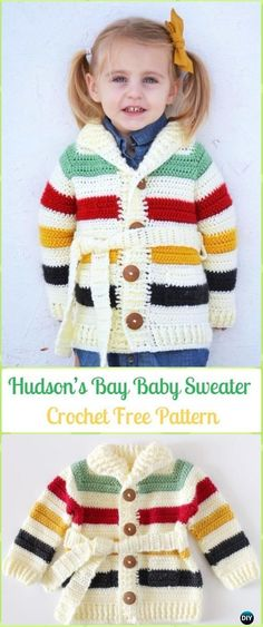 Crochet Hudson's Bay Baby Sweater Free Pattern - Crochet Kid's Sweater Coat Free Patterns #crochetideas