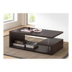 Finish off your contemporary seating area with the Baxton Studio Lindy Coffee Table . The asymmetrical coffee table features a full-length lower shelf. Contemporary Coffee Table, Modern Coffee Tables, Modern Table, Contemporary Furniture, Mesa Sofa, Center Table Living Room, Dining Room, Dining Chairs, Dining Table