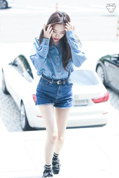 Denim Polo with Maong Short Airport Fashion of Lee Sunmi