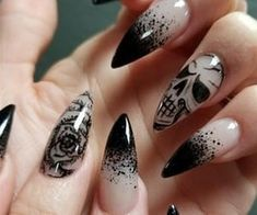 Skull Nail Designs Picture skulls n roses from nail art gallery gothic nail Skull Nail Designs. Here is Skull Nail Designs Picture for you. Skull Nail Designs nail decal sugar skull nail art set 3 hearts roses skull nail art d. Nail Art Designs, Black Nail Designs, Nails Design, Stiletto Nail Designs, Rose Nail Design, Salon Design, Goth Nails, Skull Nails, Skull Nail Art