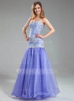 Trumpet/Mermaid Sweetheart Floor-Length Beading Sequins Zipper Up Strapless Sleeveless No Lavender Spring Summer Fall General Plus Organza Lace Prom Dress