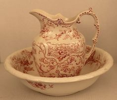 Red Transferware Pitcher Basin Brown Westhead Moore Lucknow BOCH Freres Primrose
