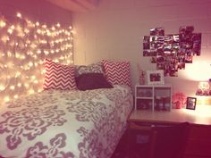 Love Christmas lights on wall, maybe not over bed so they don't keep me awake at night!