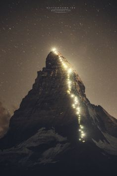 Anniversary of the first Matterhorn Ascent, Lamps light the historic route taken by the first explore team who scaled the iconic meter Matterhorn in 1865 Zermatt, Countryside Fashion, Swiss Alps, Famous Places, Mountain Man, Mountaineering, Places Around The World, Natural Wonders, Beautiful Images