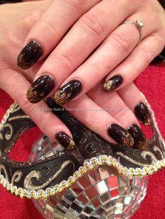Acrylic nails with black shadow gelish gel polish with crystal nails gold gel fade nail art