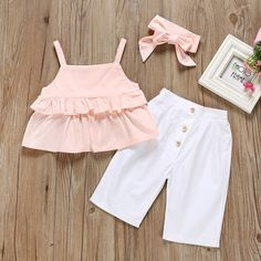 Lena Ruffled Pants Set - Olive and Quin - August 18 2019 at Legging Outfits, Outfits Niños, Baby Girl Dress Patterns, Baby Clothes Patterns, Baby Dress, Kids Outfits Girls, Toddler Outfits, Girl Sleeves, Matching Family Outfits