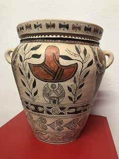 Ancient Greek Amphora Reproduction of clay of the recent Minoan period