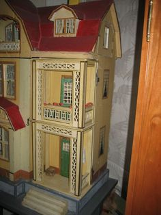 Large Antique German Gottschalk Red Roof doll house c1912 from sondrakruegerantiques on Ruby Lane