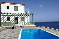 House on the Island of Andros, Cyclades, Greece. Chios, Greece, Real Estate, Swimming, Island, Cottages, Beach, Water, Outdoor Decor