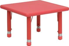 Flash Furniture YU-YCX-002-2-SQR-TBL-RED-GG 24-Inch Square Height Adjustable Red Plastic Activity Table by Flash Furniture. $64.94. Square activity table, 24-inch width by 24-inch depth by 14-1/2 23-3/4-inch height. Primary colors support early childhood development. Red Plastic Table Top with Safety Rounded Corners. Accommodates children up to age 7. Seats up to 4 children. Kids activity tables are excellent for early childhood development. The primary colors make learning ...