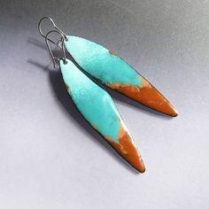 Brown seafoam and turquoise dangle earrings, enamel long drop earrings ...