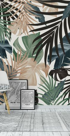Tropical Jungle Leaves 13 Wall Mural / Wallpaper Abstract - Healty fitness home cleaning Tropical Wallpaper, Wallpaper Jungle, Jungle Vibes, Leaf Art, Leaf Wall Art, Painted Leaves, Mural Painting, Tropical Leaves, Wall Design