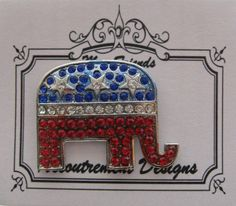 Accoutrement Designs Republican Elephant Needle Minder Magnet Pin Brooch #AccoutrementDesigns