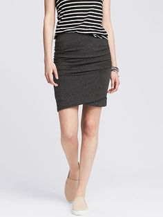 Ruched Gray Jersey Skirt
