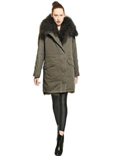 ARMY FUR - COTTON GABARDINE PARKA WITH FUR COLLAR