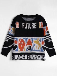 Mens Sweatshirts Printed Q-Bert Longsleeve Round Neck Sweater