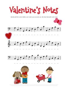 Valentines Day Music Worksheets - Tons of Free Printables