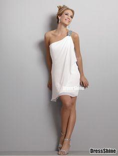 Sheath One-Shoulder MiniLength Satin and Chiffon Beach Wedding Dress - Wedding Dresses - Weddings