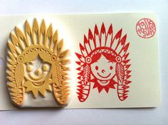 native american boy stamp. boy hand carved rubber stamp. halloween stamp. boy in his tribal costume. halloween craft projects