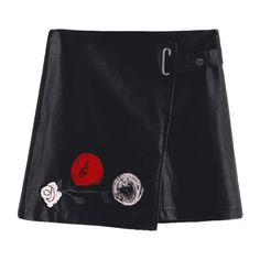Floral Applique Faux Leather Mini Skirt Black S (72 BRL) ❤ liked on Polyvore featuring skirts, mini skirts, zaful, floral print mini skirt, floral mini skirts, vegan leather mini skirt, leather look mini skirt and short floral skirt