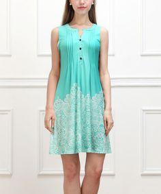 Another great find on #zulily! Turquoise Lace-Print Sleeveless Button-Front Dress #zulilyfinds