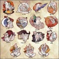 okami celestial gods stickers by weissidian