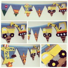 Digger building boys bunting by Bettybuntings on Etsy