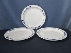 Dansk Bistro Mariboo Plates Dinner White Blue Leaves Red Berry Set of 3 Ceramic  #Dansk