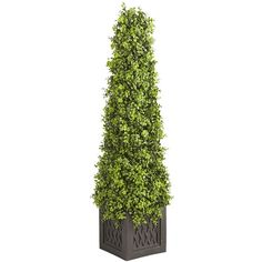 Pier 1 Imports Green Pre-Lit Faux Boxwood Topiary ($130) ❤ liked on Polyvore featuring home, home decor, floral decor, green, fake topiary, faux boxwood topiary, pier 1 imports, artificial topiaries and faux topiary