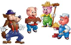 Resultado de imagem para three little pigs and the big bad wolf Wolf Images, Wolf Pictures, Cartoon Cartoon, Disney Pig, Three Little Pigs Story, Nursery Pictures, Pig Art, Pig Birthday, Big Bad Wolf