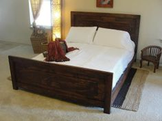 Rustic traditional Bed by ArtisanWood11 on Etsy, $850.00