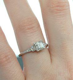 Antique Engagement Ring - Asscher Cut Diamond in Platinum Setting $5,890