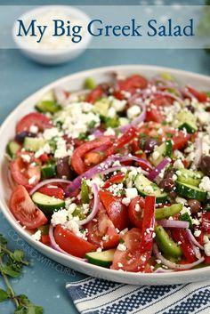 Greek Salad Recipes, Summer Salad Recipes, Pasta Salad Recipes, Summer Salads, Cucumber Feta Salad, Ham Salad, Salmon Salad, Shrimp Salad, Fruit Salad