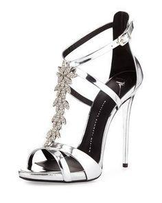 Jewel-Embellished Metallic Evening Sandal, Silver by Giuseppe Zanotti at Bergdorf Goodman.