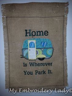 Camping Garden #Flag, #Embroidered, Burlap, #Applique,  View more on the LINK: http://www.zeppy.io/product/gb/3/201240771/