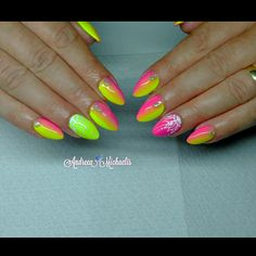 Ombre nails pink and yellow