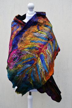 Felted scarf shawl silk wool nuno felted by AleksandrabWiniarska, $99.00