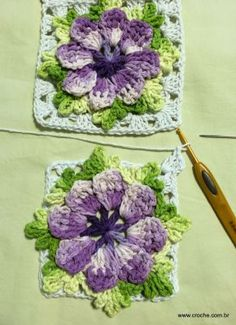 Tapete oval passo a passo - www.croche.com (27) Crochet Flower Squares, Crochet Blocks, Crochet Motif, Crochet Flowers, Crochet Patterns, Dyi Crafts, Crochet Crafts, Crochet Towel Topper, Ribbon Embroidery