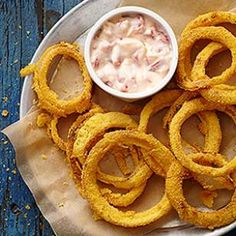 Beer-Battered Onion Rings with Roasted Pepper Aioli