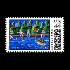 kids fishing postage