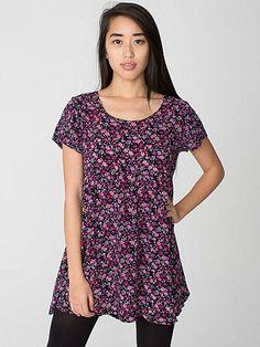 Printed Rayon Babydoll Dress | American Apparel