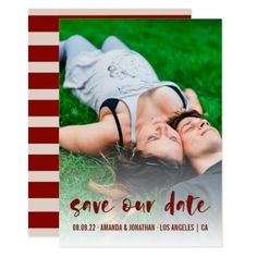 Champagne and Wine stripes Wedding Save our Date Card - stripes gifts cyo unique style