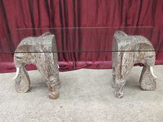 Balinese Hand Carved Unique Elephant Dining Table Glass TOP White .