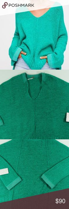 Free People Take Me Over V-Neck Sweater Free people  Take Me Over V-Neck Sweater   Size: M/L  Color: Green  Style# OB667873  Bust: 33.5 inches  Arm length: 15 inches  A great all around sweater, very cozy and perfect for the cold months that are on the way. Free People Sweaters V-Necks