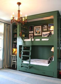 boys room bunk bed in vintage baseball/sports theme