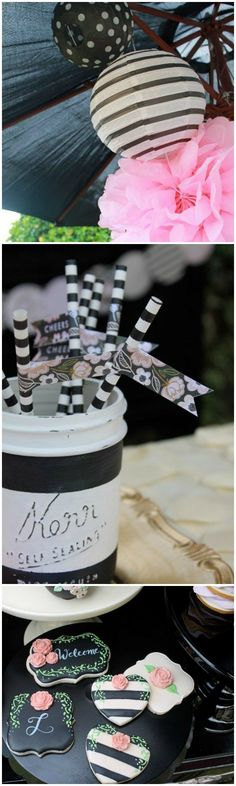 Gorgeous black and white striped bridal shower