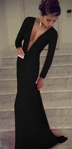 Black Plunging V Neck Long Sleeve Bodycon Flowing Skirt Evening Maxi Dress
