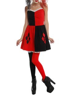 Harley Quinn costume dress with lined skirt, elastic waist, back zip closure and tulle trim.