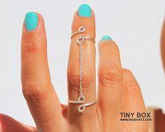 Anillo de cadena anillo - nuevo nudillo - cuerpo joyería - doble anillo - cadena de plata 925